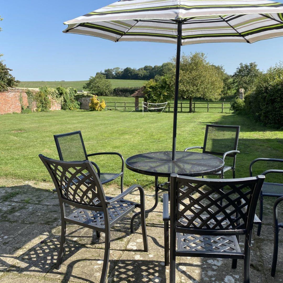 Manor and garden with badminton net